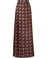 Gucci Pleated Printed Silk Twill Maxi Skirt