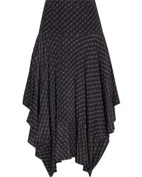 Stella McCartney Asymmetric Printed Silk Midi Skirt