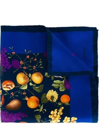 Navy Print Silk Pocket Square