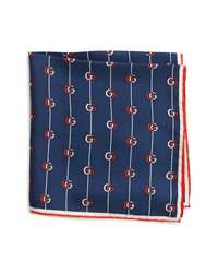 Gucci Gg Print Silk Pocket Square
