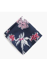 J.Crew Italian Silk Pocket Square In Flower Print