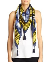 Tory Burch Feather Print Cotton Silk Scarf