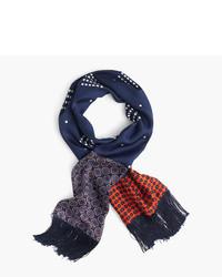 Lightweight silk scarf in printed navy patchwork medium 775862