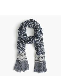Lightweight wool silk scarf in batik leaf print medium 822004