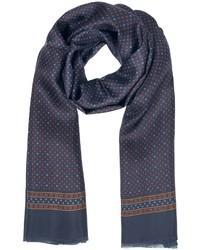 Mini square dots print silk and modal reversible scarf medium 10716