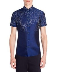 Emporio Armani Printed Mulberry Silk Blend Shirt