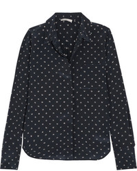 Vince Printed Silk Shirt Midnight Blue