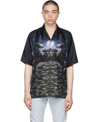 Burberry Black Silk Meadow Print Bowling Short Sleeve Shirt
