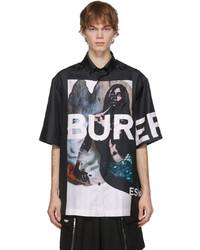 Burberry Black Silk Mermaid Print Short Sleeve Shirt