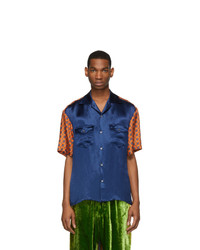 Gucci Blue And Orange Silk Bowling Shirt