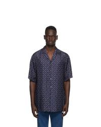 Gucci Blue Silk Apple Print Bowling Shirt