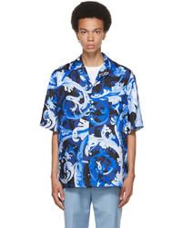 Versace Blue Silk Boroccoflage Short Sleeve Shirt
