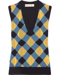 Marni Intarsia Wool And Silk Blend Tank Blue