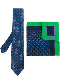 Etro Arrow Print Tie And Pocket Square Set