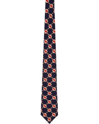 Gucci Navy Red Silk Gg Hexagon Tie