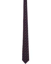 Gucci Navy Red Silk Interlocking G Tie
