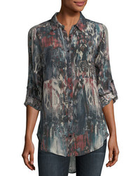 Evelyn button front abstract print silk tunic plus size medium 5146840