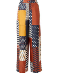 Tory Burch Denise Patchwork Printed Silk Twill Wide Leg Pants