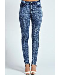 Boohoo Alana Acid Wash Ripped Skinny Jeans