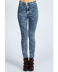 Boohoo Heidi Acid Wash High Rise Skinny Jeans