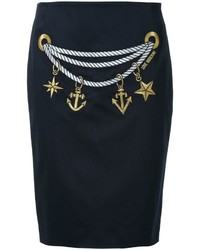 Love Moschino Chain Print Straight Skirt