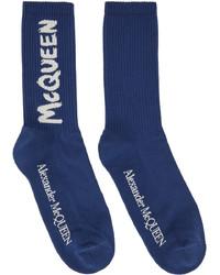 Alexander McQueen Blue Graffiti Socks