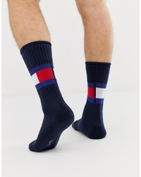 Tommy Hilfiger Flag Crew Socks In Navy
