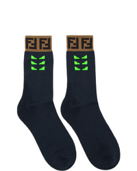 Fendi Navy And Green Bag Bugs Socks