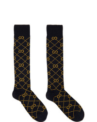 Gucci Navy And Yellow Gg Socks