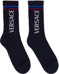 Versace Navy Logo Socks
