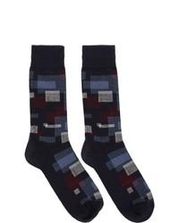 BOSS Navy Square Socks