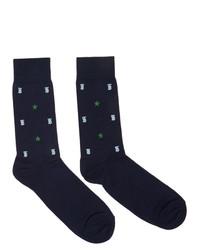 Burberry Navy Tb Monogram Star Socks