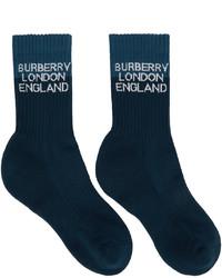 Burberry Navy Two Tone Logo Intarsia Socks