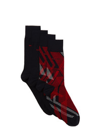 BOSS Two Pack Navy And Red Crew Socks