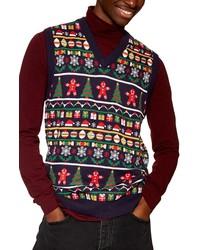 Topman Christmas Fair Isle Sweater Vest