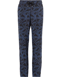 Giorgio Armani Slim Fit Printed Matte Satin Drawstring Trousers