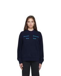 Proenza Schouler Navy Fluid Logo Sweatshirt