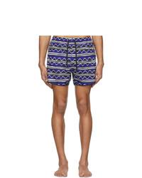 Neil Barrett Blue Primitive Art Stripes Swim Shorts