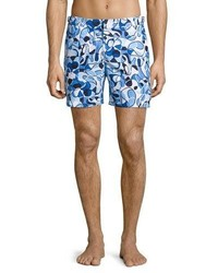 Orlebar Brown Bulldog Deepwell Swirl Printed Swim Trunks Navy