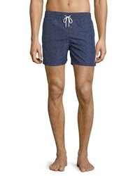 Salvatore Ferragamo Gancini Print Swim Trunks Navy