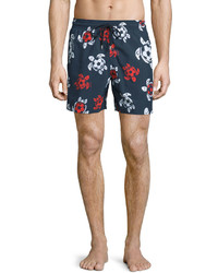 Vilebrequin Moorea Soccer Turtle Printed Swim Trunks Navy
