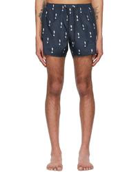 Neil Barrett Navy Allover Thunderbolt Swim Shorts