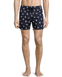 Moncler Star Print Swim Trunks Navy