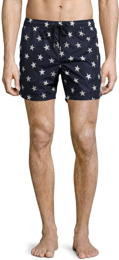 461398245 Moncler Star Print Swim Trunks Navy