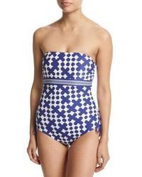 Kate Spade New York Tile Print Bandeau One Piece Swimsuit Blue
