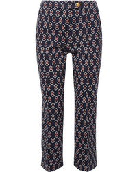 Tory Burch Sara Printed Jersey Tapered Pants