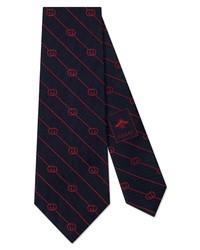 Gucci Gg Logo Stripe Silk Tie