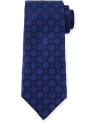 Large dot print silk tie navy medium 654115