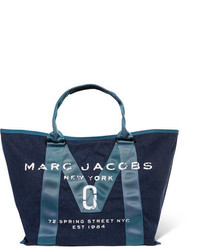 Marc Jacobs Printed Canvas Trimmed Denim Tote Mid Denim