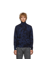 Etro Black And Blue Stampa Turtleneck